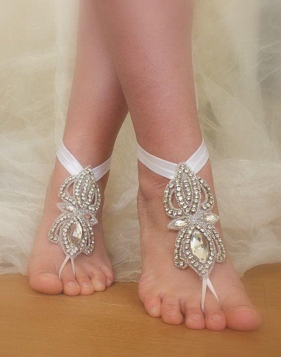 Rhinestone Anklet Beach Wedding Barefoot Sandals
