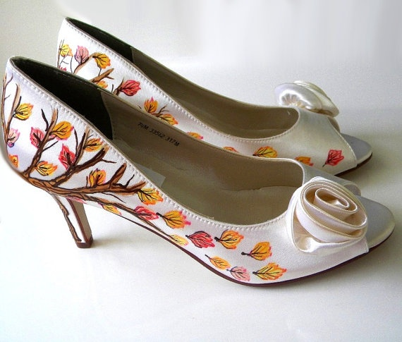 54a0cf54c2ed Wedding Shoes Fall Trees Branches Leaves Initials Inna Heart Personalized  Custom Heidi
