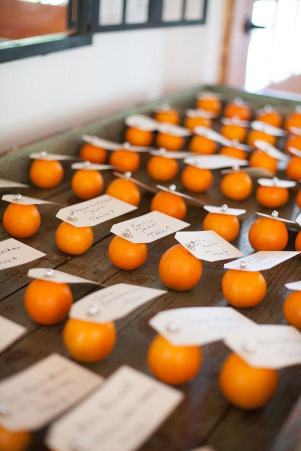 Wedding - Reception Place Cards Pinned To Clementines