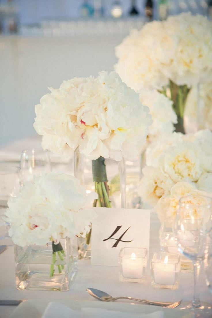 Gorgeous white flowers and table setting 2059254 weddbook for White wedding table decorations
