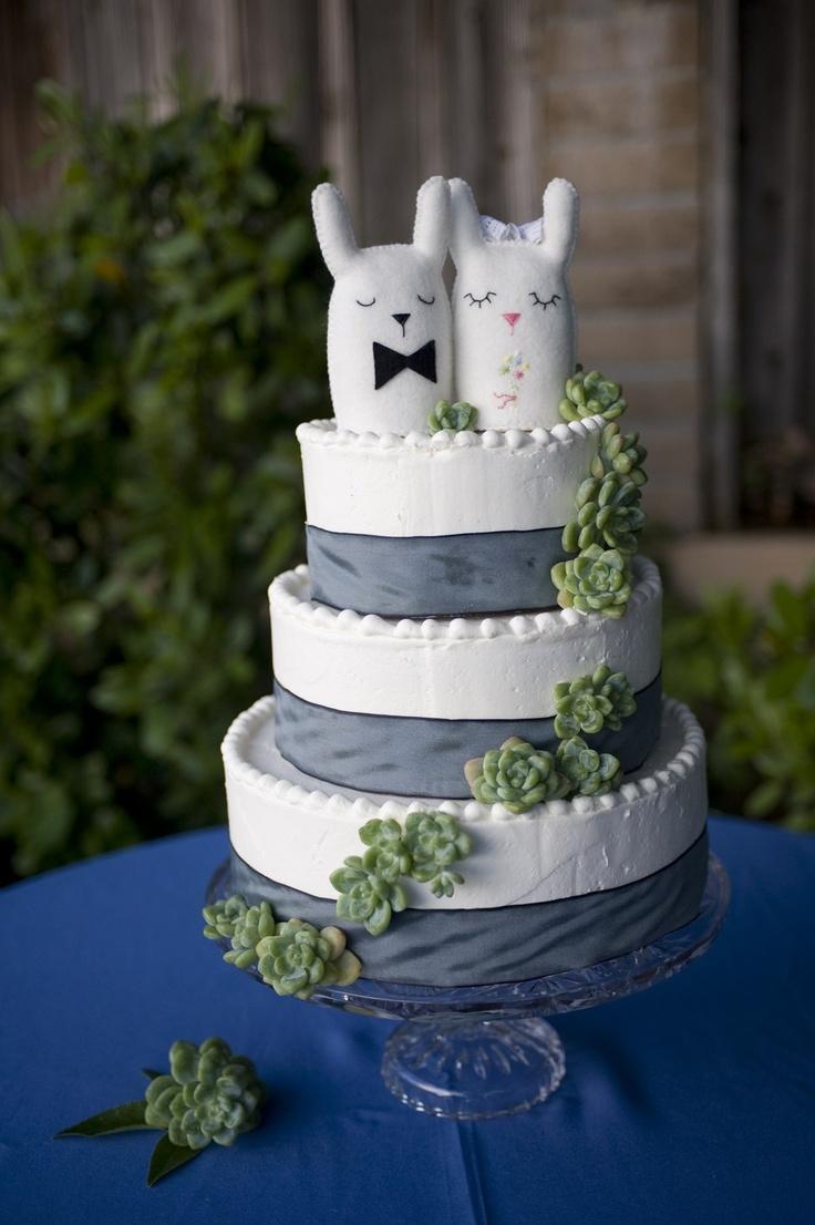 Mariage - Personnalisée Topper gâteau de mariage - Couples de lapin - Animal gâteau Topper