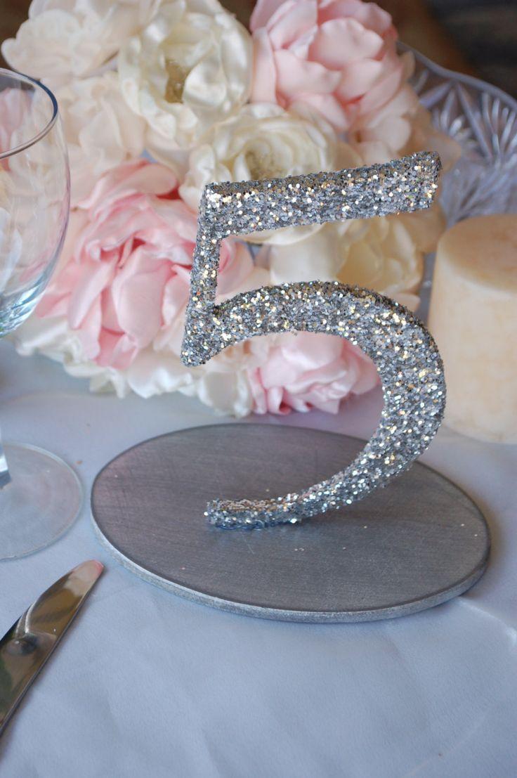 Mariage - Glitter Nombres de Tableau de mariage - argent / or 1-10