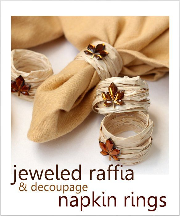 Wedding napkins fall diy napkin rings using raffia for Diy fall napkin rings
