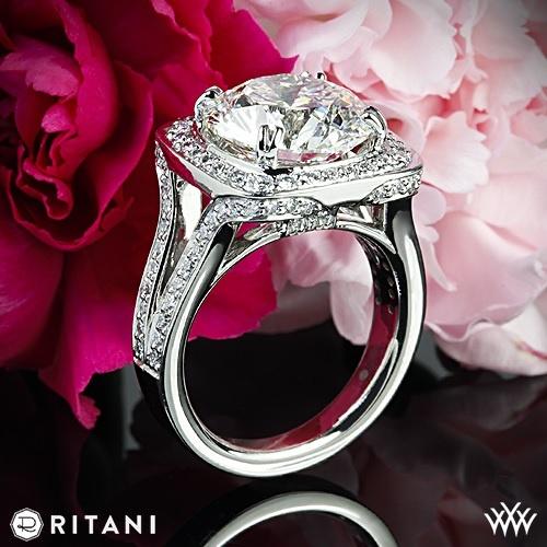 """Mariage - V Platinum Ritani Masterwork Coussin halo diamant """"de la bande de bague de fiançailles"""