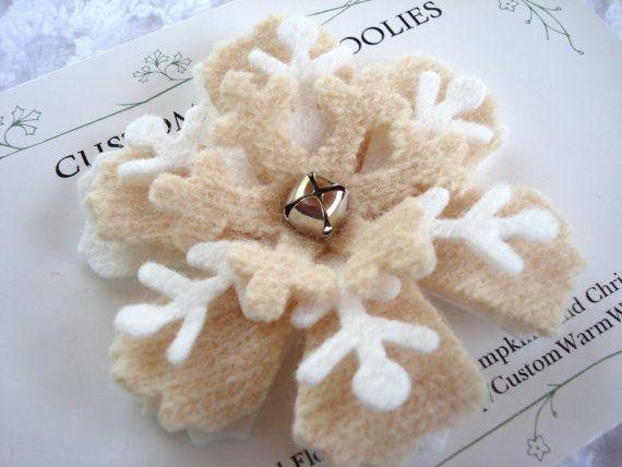 Felted Schnee Brosche Filz Blumen Hochzeits Bevorzugungen Bridal
