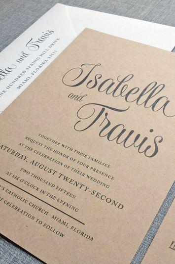 Mariage - Nouveau script Isabella recyclé Kraft Invitation de mariage d'échantillon