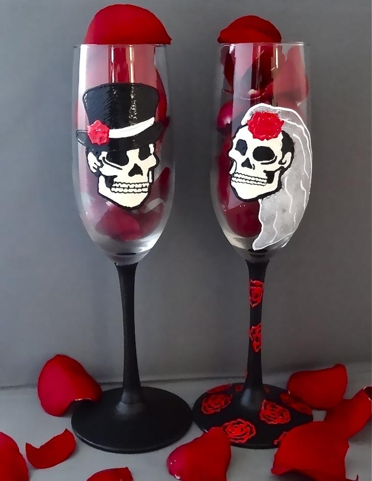 custom gothic wedding flutes see more about wedding flutes wedding