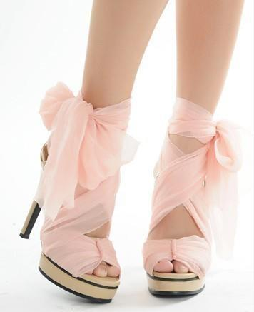 Wedding - Pink Chiffon High Heels