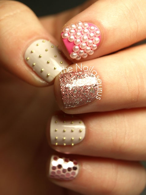 Wedding - Pearl, Stud And Sparkle Nail Art