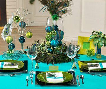 Peacock Theme Christmas Table Decorating Ideas Part 36