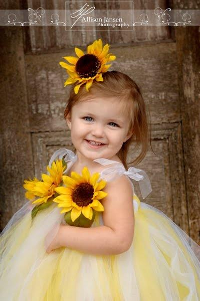 Yellow wedding flower girl yellow sunflowers 2060451 for Sunflower dresses for wedding