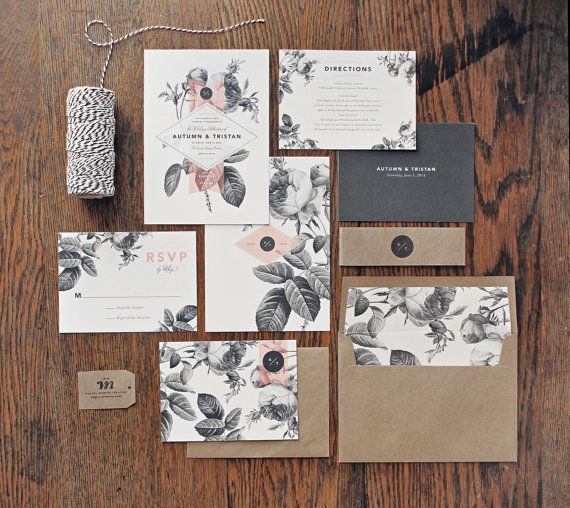 Wedding - Vintage Floral Wedding Invitation & Correspondence Set / Painterly Florals And Modern Accents / Sample Set