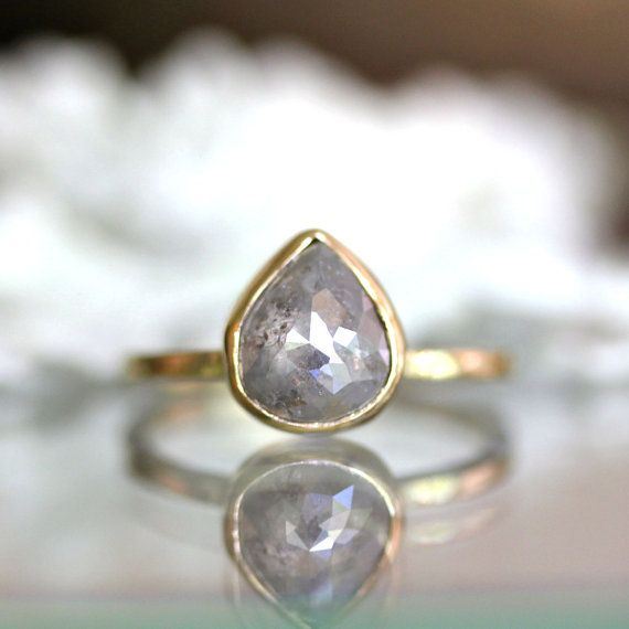 Teardrop white gray diamond in 14k yellow gold engagement for Wedding band for teardrop engagement ring