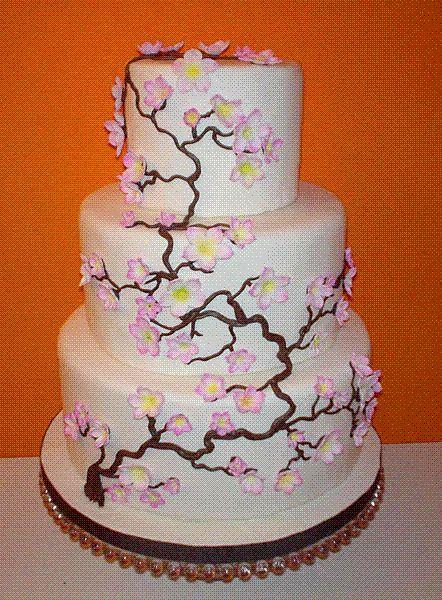 Oriental Wedding Japanese Cherry Blossom Wedding Cake 2061102