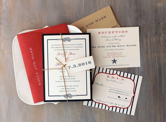 "Country Wedding Invitations, Nautical Wedding Invitations, Summer Wedding, Fourth Of July Wedding {NEW} - ""Stars & Stripes"" Sample"