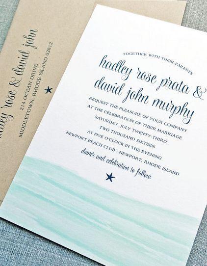 Hochzeit - Hadley Aquarell Waves Beach Wedding Invitation Probe - Aqua Blue Waves Hochzeits-Einladung