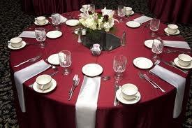 Maroon Silver Wedding Table Setting