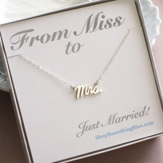 mrs script necklace sterling silver cursive mrs word jewelry new bride bridal shower gift honeymoon sentiment card