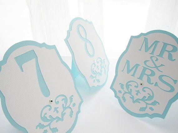 """Свадьба - Свадебный Стол Номера В """" Тиффани """" - Синий И Белый-Дамаск Вырез - Выбрать Цвет"""