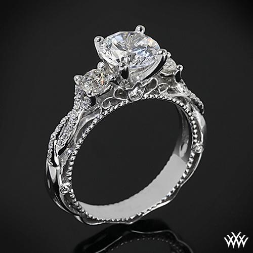 Mariage - Or blanc 18 ct Verragio perlé Twist 3 Pierre bague de fiançailles