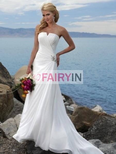 Hochzeit - Sheath/Column Strapless Ruffles Sweep/Brush Train Chiffon Wedding Dresses