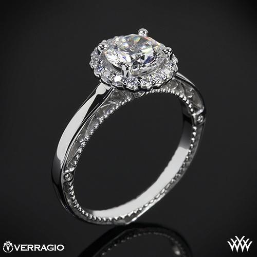 ... oro blanco anillo de compromiso Verragio redondeado de Halo Solitario