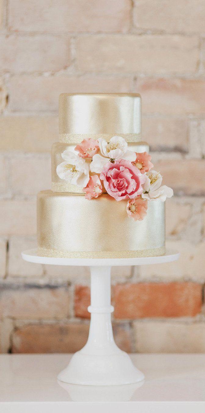 Mariage - Blush et or gâteau de mariage