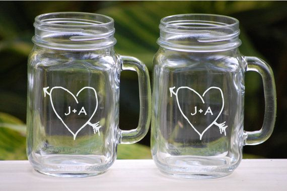 Toasting Gles Etched Mason Jar Rustic Wedding Barn Decoration Personalized Gift Shower Mr And Mrs