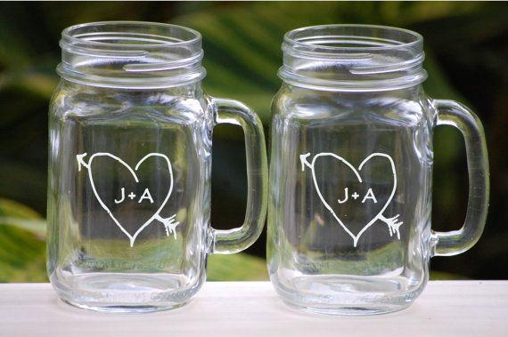 Toasten Glaser Etched Weckglas Glaser Landliche Hochzeit