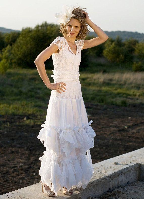 Blanc Fairy Dress Upcycled Robe De Mariage Grown Lambeaux Romantique ...