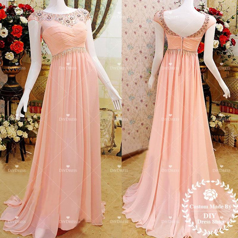Round Neck Cap Sleeve Prom Dresses Beaded Skin Pink Chiffon Formal Long Bridesmaid Party Dress