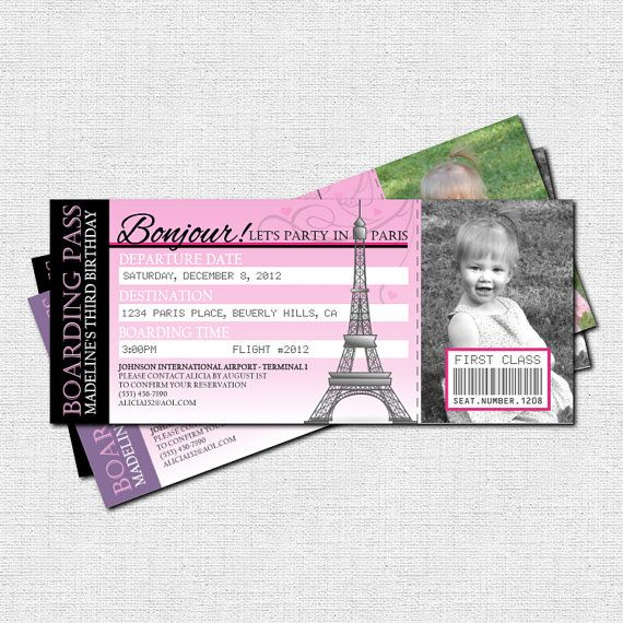 PARIS PARTY EINLADUNG Boarding Pass Geburtstag Tickets