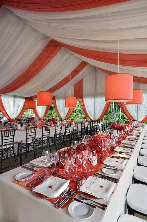 Coral And Orange Table Runners And Centerpieces Add A Splash Of
