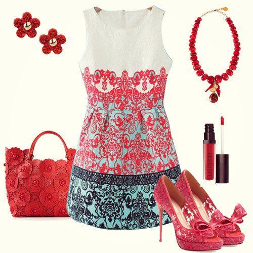 Düğün - Beyaz Kolsuz Kırmızı Yeşil Çiçek İşlemeli Elbise - Sheinside.com