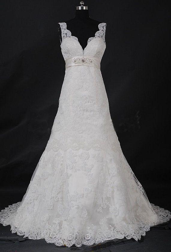 White Lace Wedding Dress Elegant Sex Long Deep V Lace Up