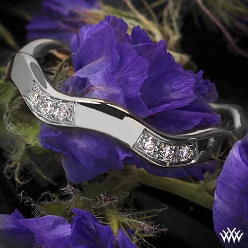 Mariage - Or blanc 18 ct Ritani Pile de diamant de vague Bague main droite