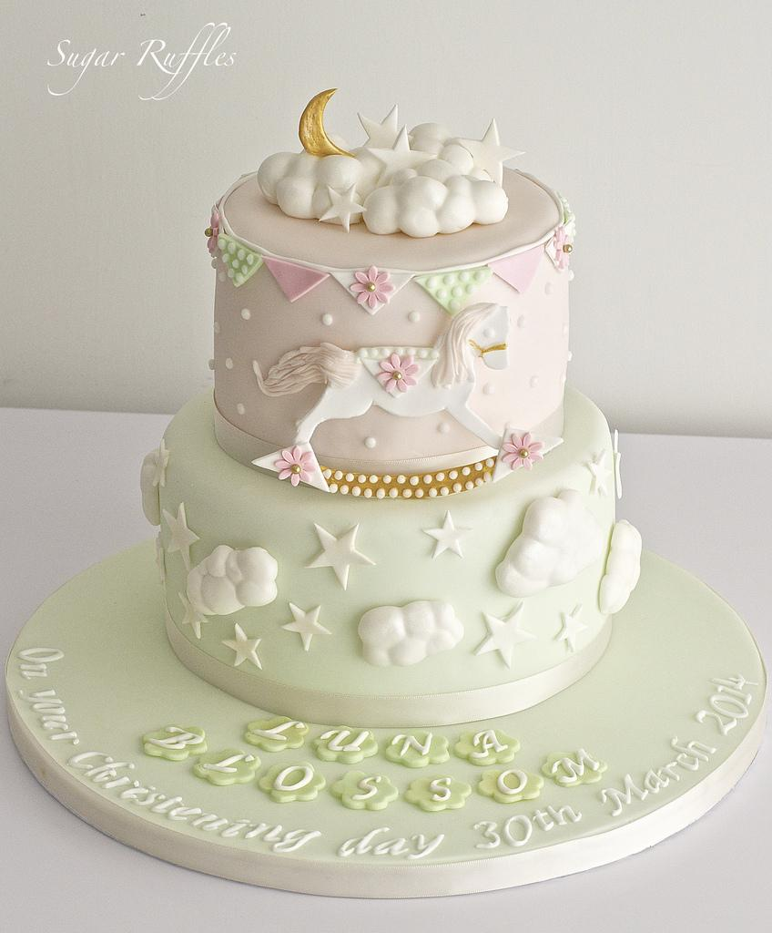 Mint Wedding Mint Green And Pink Christening Cake