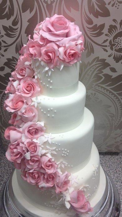 Wedding Cake Pictures With Roses : Rose Wedding - Pink Cascading Rose Wedding Cake #2064020 ...