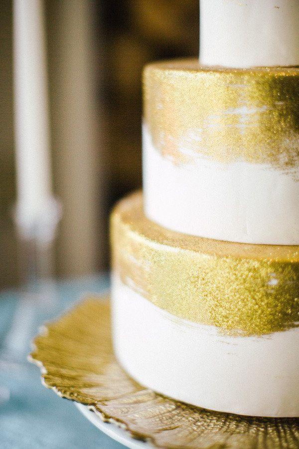 Gold Wedding - Gold Glitter Dusted Cake #2064045 - Weddbook