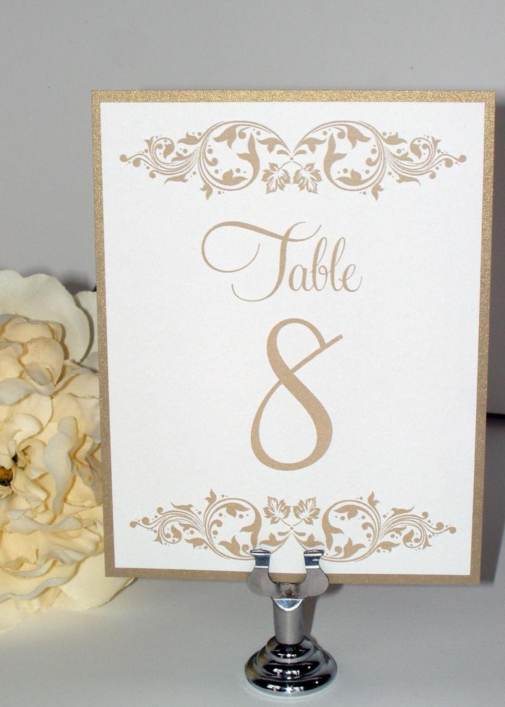 Courtney Wedding Table Numbers Wedding Table Cards Gold Leaf