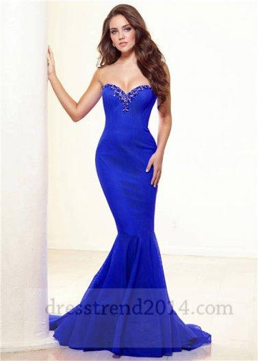 Royal Blue Beaded Mermaid Prom Dresses 2014 #2064358 - Weddbook