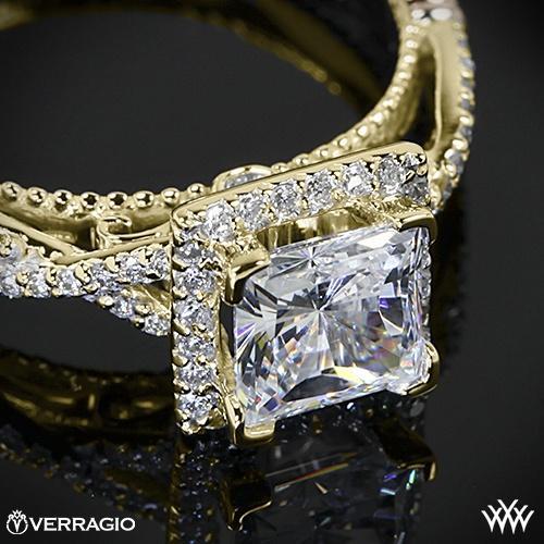 jaune 14 carats verragio princesse halo bague de fiançailles verragio ...