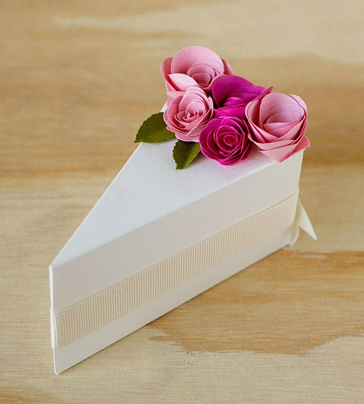 Cake Ideas From Cake Box : Wedding Cakes - Cream Paper Cake Slice Favor Boxes ...
