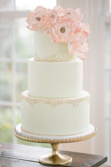 Mariage Blush Gateau Simple Avec De Belles Fleurs 2064946 Weddbook
