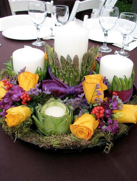 Tablescapes artichokes with tea lights weddbook