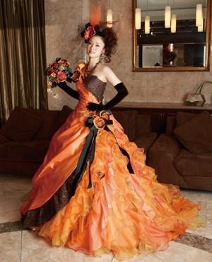 Halloween orange and brown wedding dress 2065581 weddbook for Brown dresses for a wedding