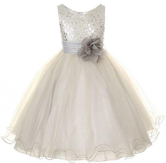 Blumenmadchen Kleid Silber Grau Pailletten Mesh Blumen Madchen