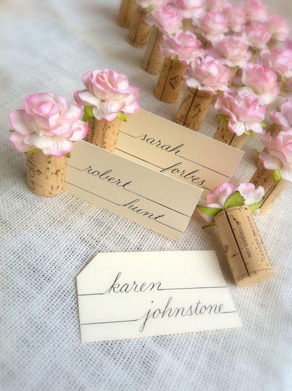 blush pink weddings table settings name card holders