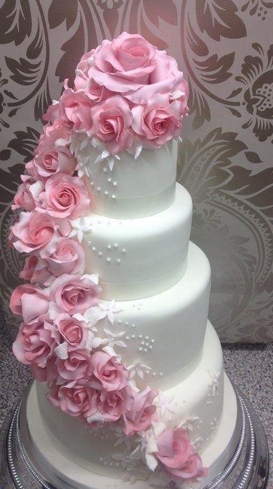 Rose Hochzeit Rosa Rose Cascading Hochzeitstorte 2066422 Weddbook