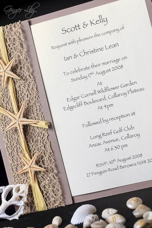 Beach Wedding Invitation DIY Kit Urban Starfish NATURAL Invite – Beach Wedding Invitations Diy